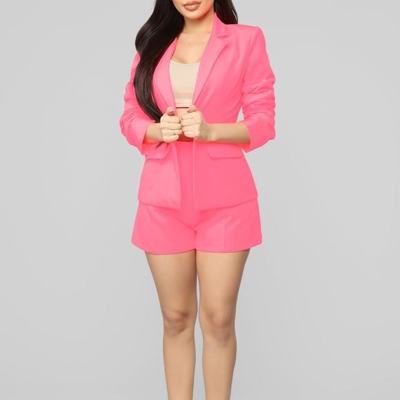 Fashion Nova Jackets & Blazers - Neon Pink Suit Set